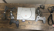 Sony Playstation 1 Console - Gray 2 Controllers And Memory Card Tested