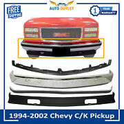 Front Bumper Chrome Steel + Molding And Valance For 1994-02 Chevy C/k Pickup