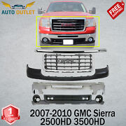 Front Bumper Chrome + Covers And Grille For 2007-10 Gmc Sierra 2500hd 3500hd