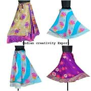 Indian Double Layer Vintage Silk Magic Wrap Around Skirts Floral Printed Hippie