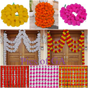 Artificial Flowers Hanging Marigold Garland Fluffy Decoration Pack Of 100