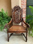 Antique French Carved Oak Throne Arm Chair Barley Twist Renaissance Louis Xiii