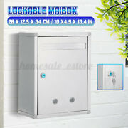 Stainless Steel Mailbox Wall Mount Letter Post Storage Outdoor Lockable