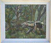 Hugo Knobloch 1928 Rostock Reclining Tree In Forest Nature Mecklenburg 67 X 77,5