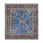 6and0395x6and0395 Super Kazak Hand Knotted Organic Wool Denim Blue Square Rug R68184