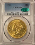 1904 20 Liberty Gold Double Eagle Pcgs Ms-62 Cac Flashy Fresh Luster And Pq
