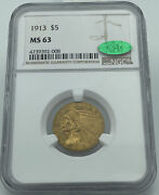 1913 Ngc And Cac Ms63 5 Gold Indian