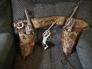 Vintage Cast Toy Cap With Rare Double Holster