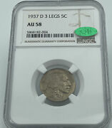 1937-d 3 Legs Buffalo Nickel Ngc And Cac Au58