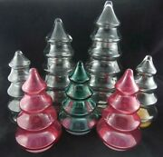 7pc Set Glass Christmas Tree Apothecary Jars Candy Dish Clear Pink Green