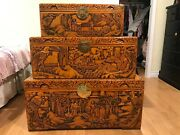 Carved Chinese Camphor Chest Depicting Oriental Scenes Of People Birds