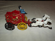 Vintage Old Cast Iron Horse Carriage