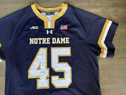 Authentic Game Worn Notre Dame Irish Lacrosse 45 Navy Rudy Jersey Under Armour