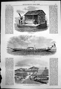 Antique Old Print Siam Bamboo Hut Royal Barge Norfolk Island Pitcairners 1857