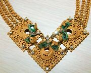 Miriam Haskell Vintage Signed Necklace Rhinestones And Green Glass - Goldtone