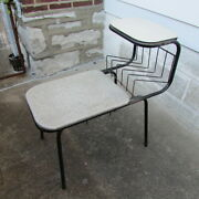 Gossip Bench Telephone Table Black Metal With Seat Mid Century Vintage