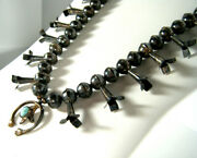 Rare Antique Museum Old Pawn Navajo Turquoise Sterling Squash Blossom Necklace