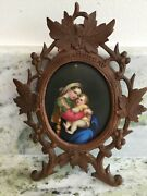 Antique Porcelain Hand Painted Madonna And Child In Hand Carved Frame Germany