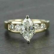 2ct Marquise-cut Vvs1 Diamond Solitaire Engagement Ring 14k Yellow Gold Finish