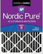 Nordic Pure 16x25x4 Merv 8 Pleated Plus Carbon Ac Furnace Air Filters 6 Pack