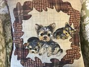 Yorkie Hand Painted Country Pillow Super