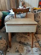 Vintage Collectible Vinyl And Wood Sewing Machine Chair W/ Storage Euc