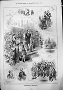 Old Print Marriage Miss Knight Passing Choir Best Man Thanks Ladies 1883 19th