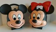 Aladdin Disney Mickey Mouse And Minnie Mouse Shaped Lunchbox And Thermos Lg13430