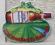 Budweiser Anheuser-busch Frog Take Some Home To Your Pad Metal Sign 33 By 29