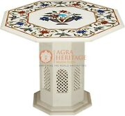 Marble White Handmade Coffee Counter Top Table Multi Stone Marquetry Floral Arts