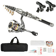 Telescopic Fishing Rod Sea Spinning Pole Reel Combo W/ 100m Line And Bag Portable
