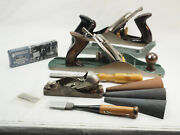 Lot Vintage Woodworking Tools 4 Wood Planes 2 Chisels 3 Cone Stones Stanley 4