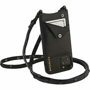 Bandolier Sarah Crossbody Phone Case And Wallet - Black Leather With Pewter D...