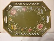 """Tole Metal Serving Tray Hand Painted Gold Floral Design 18 X 13"""" Vintage"""