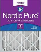 Nordic Pure 16x25x4 Merv 8 Pleated Ac Furnace Air Filters 6 Pack