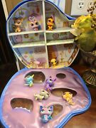 Lps Littlest Pet Shop Lot Of 10 With House Carrying Case, 2 Rare Lps