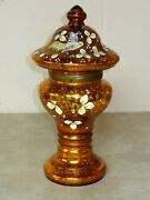 Antique Czech Crackle Glass Decanter Set Tantalus With Corolene Bird And Flowers