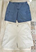 Bundle Ll Bean 2 Pair Mens Cargo Shorts Comfort Waist Size 42 Blue And Ivory, 10