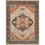 Pasargad Home Serapi Collection Hand-knotted Wool Area Rug Ivory 9and039 X 12and039