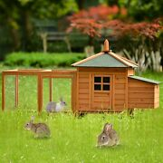 78 Large Outdoor Rabbit Hutch Poultry Cage Chicken Coop Small Animal House Wood