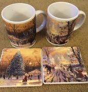 Thomas Kinkade Mugs And Coasters Lot Of Two Town Square And Victorian Christmas