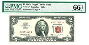 1963 2 Two Dollar Bill Red Seal Star Note - Pmg Epq Gem 66 S/n 00175141a
