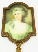 Antique Vintage Bronze French France Hand Mirror Signed With Portrait Of Woman