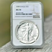 1989 American Silver Eagle 4th Year 1 Dollar Ngc Ms70....problem Free Beauty