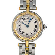 166920 Panthere 18kt Yellow Gold And Steel Panther Ivory Roman Dial Quartz