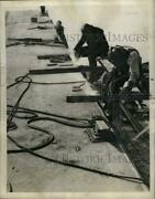 1942 Press Photo Welders At Steel Oil Barge New Orleans Shipyards - Neo07871