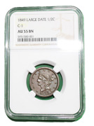 1849 Braided Hair Half Cent C-1, Ngc Au 55 1/2 Cent Hard To Find Date