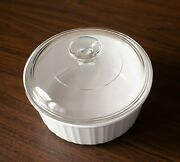Corning Ware French White F-5-b 1.5 Quart Round Casserole With Pyrex Lid