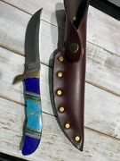Blue Mountain Turquoise Buck Knife And Leather Sheath