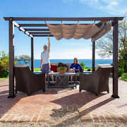 Aluminum Pergola Manual Operated Convertible Top 12and039xand03912 12and039x16and039 12and039x20and039